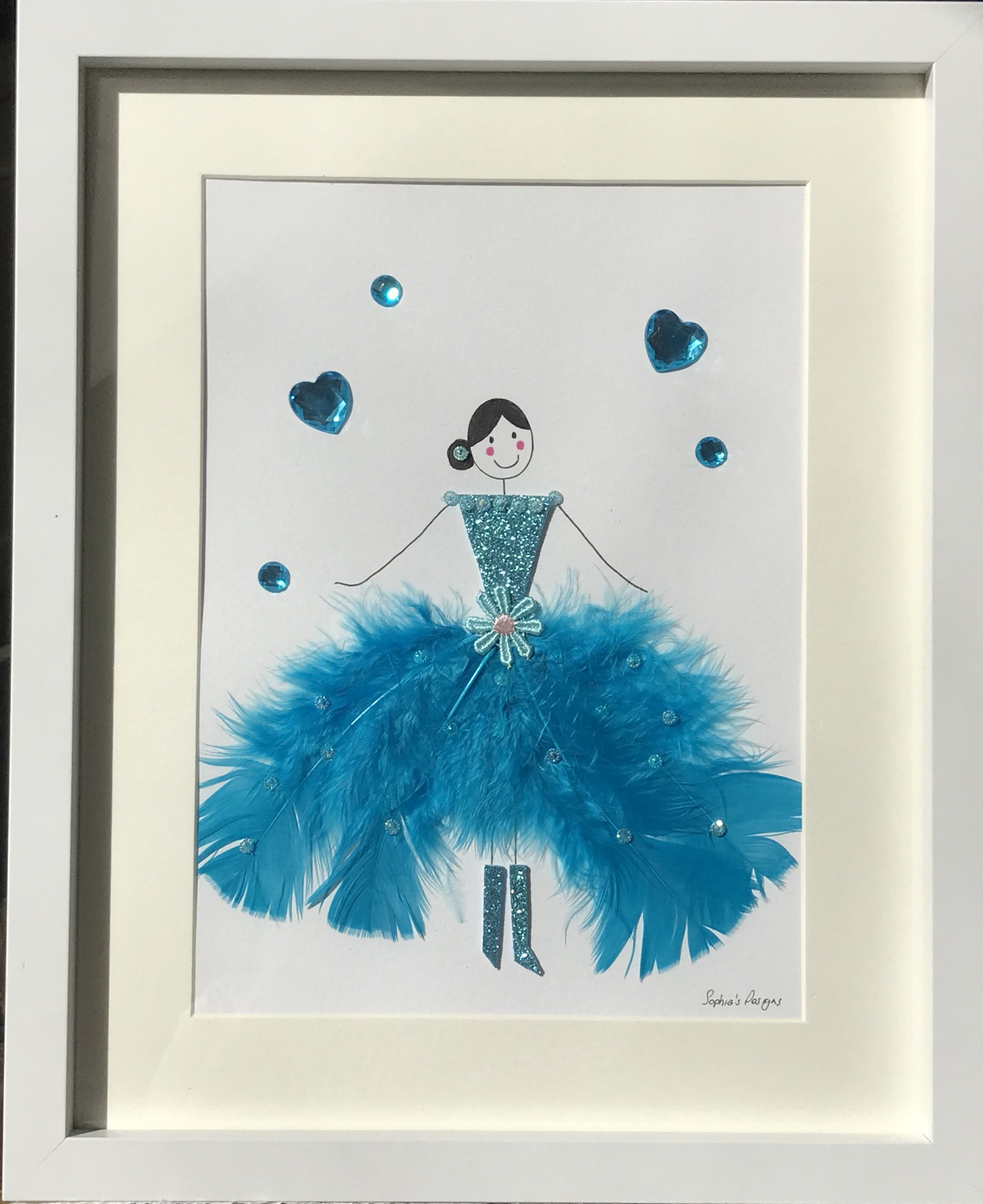 Turquoise blue ballerina with boots framed wall art