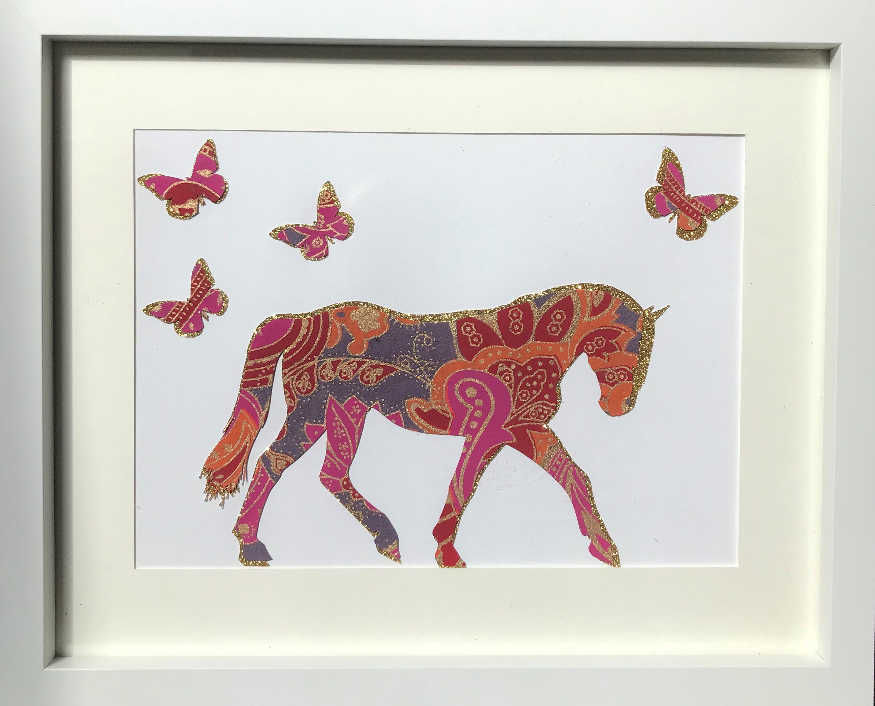 Paisley print horse with butterflies framed wall art