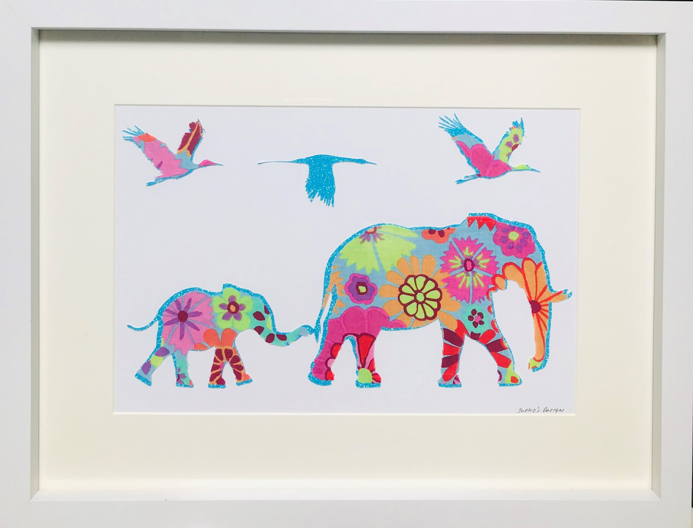 Nellie & Lizzie Elephant Framed Wall Art