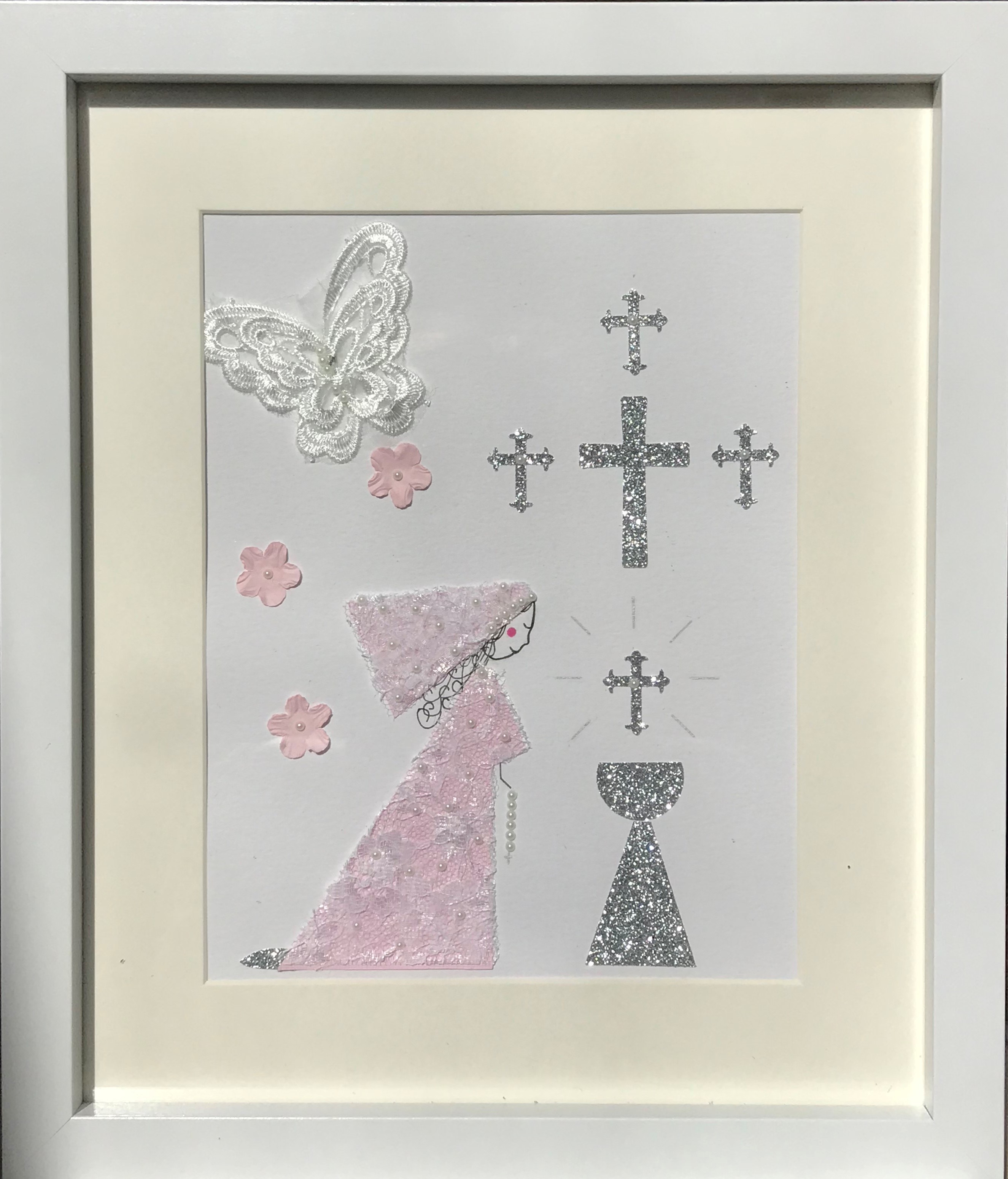 Pale pink holy communion picture framed wall art