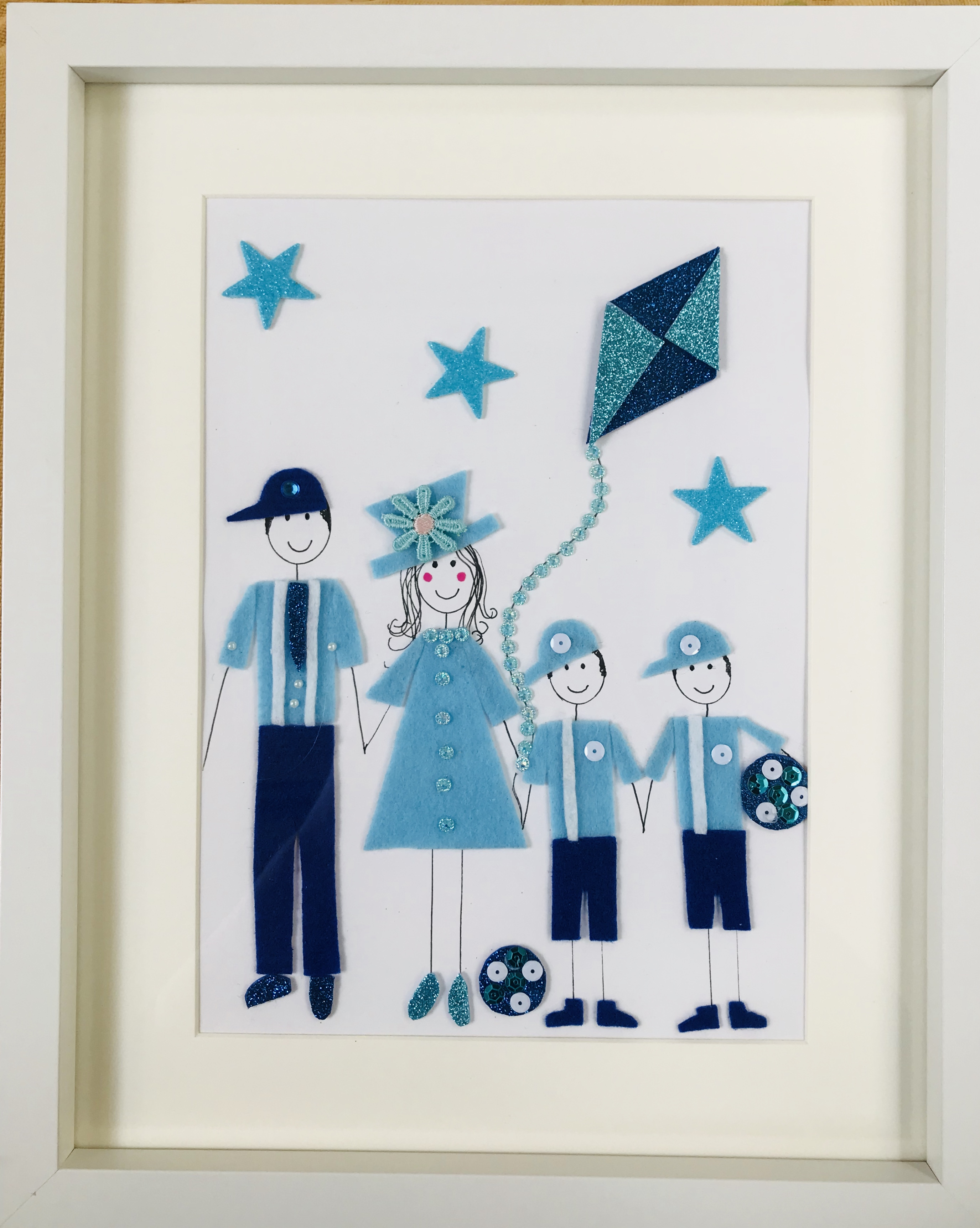 Family Picture of 4 with kite personlised framed wall art
