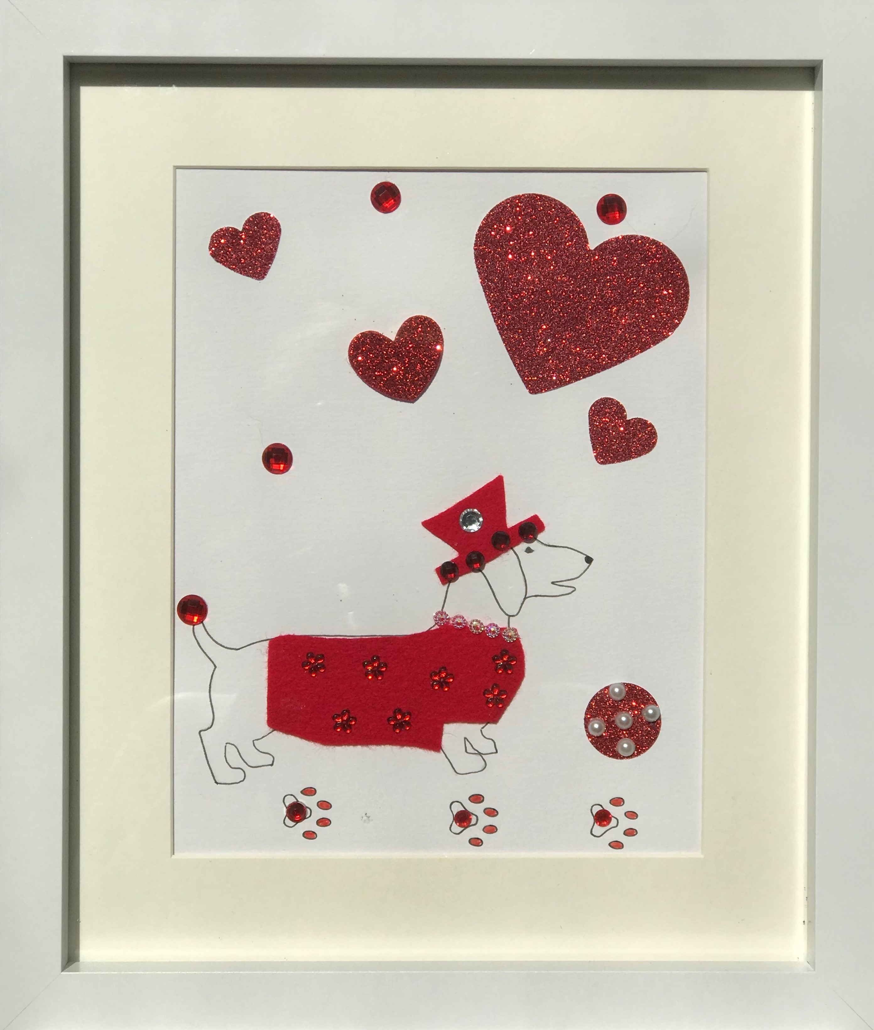 Red sausage dog framed wall art