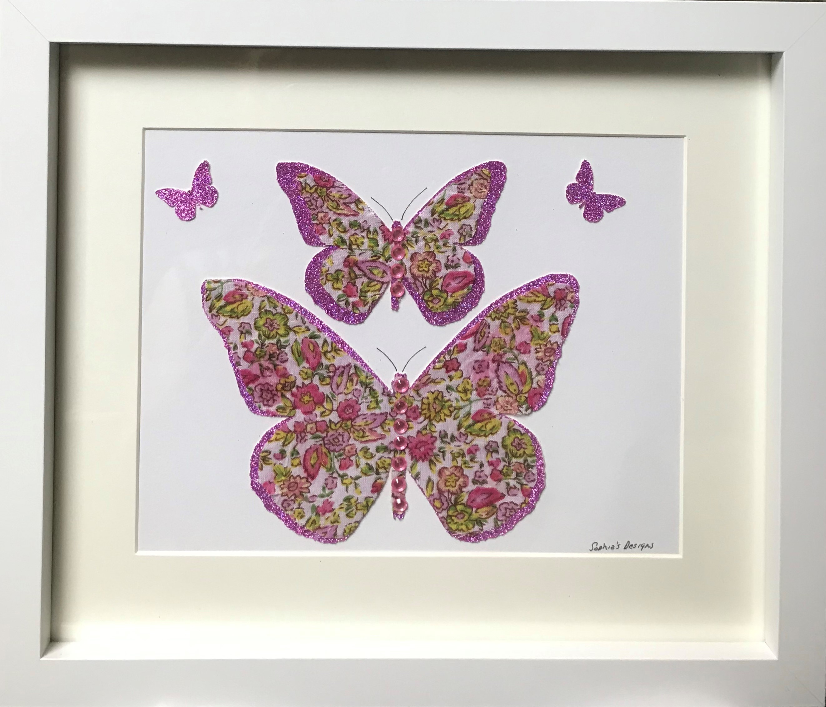 Beautiful pink & green flower print butterflies framed wall art