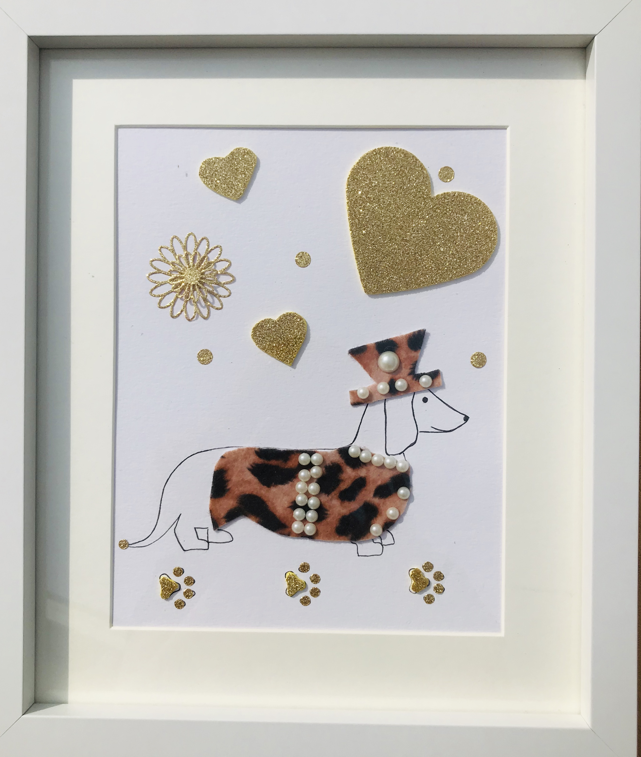 Quirky Sausage dog with leopard print hat & coat framed wall art